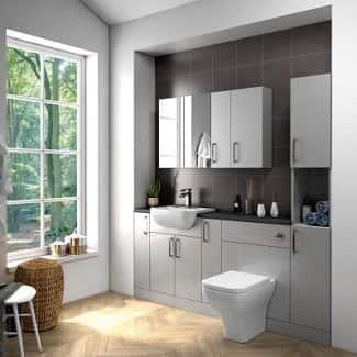 Grey Bathroom Fitted Furniture with wall cabinet mirrors