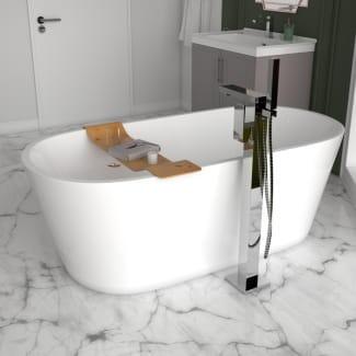 Modern Freestanding Bath with Tall Floorstanding Tap