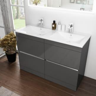 Large Gold double bathroom basin and vanity unit