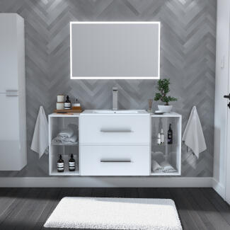 White Sonix wall-hung modern vanity unit with open shelving