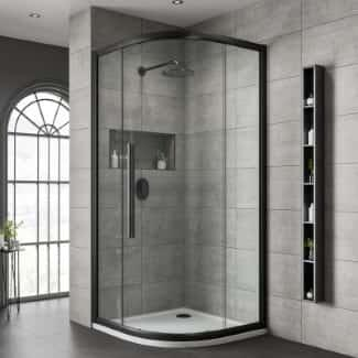 Black Shower Quadrant Shaped Enclosure