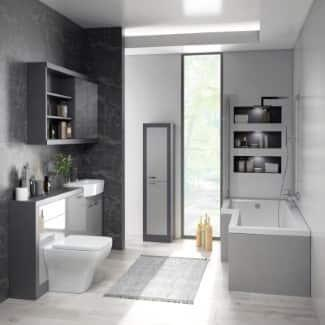 bathroom suite with shower bath and cabients colour grey