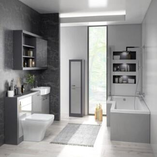 Bathroom suite with shower Bath and Grey Cabinets