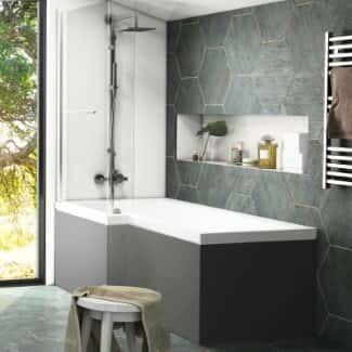 Grey Shower Bath With Shower Screen Room Set