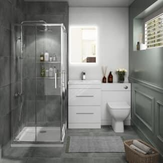 Bathroom Suite with CHromeShower and Grey vanity unit and basin