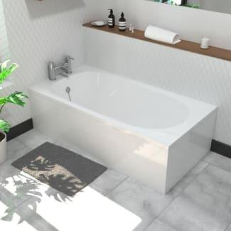 Small White Bath With Bath Panel