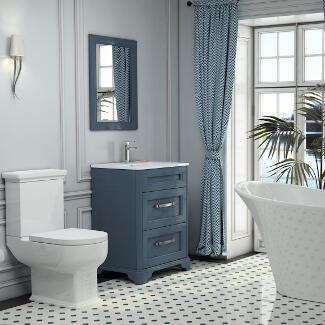 Traditional Old England Bathroom Suite with freestanding bath, indigo vanity unit and close coupled toilet