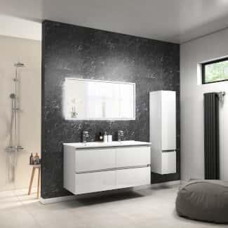 White High-Gloss Bathoom Vanity Unit with Basin
