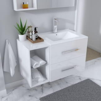 White Bathroom Wall Hung basin and drawer vanity unit