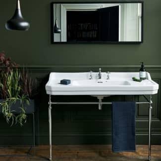 Black Marble and wood bathroom washstand