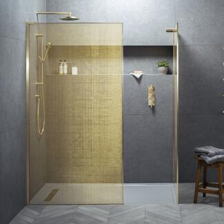 Lifestyle Image Showing Matki Eauzone Shower Enclosure with Gold Mesh and Frames