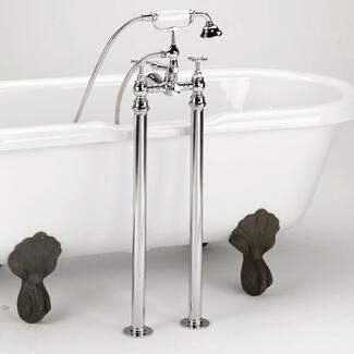 Bath shower mixer tap freestanding next to a bath