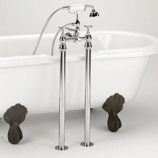 Bath shower mixer tap freestanding next to a bath