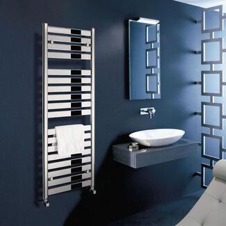 square Heated bathroom Towel rail warmer in chrome