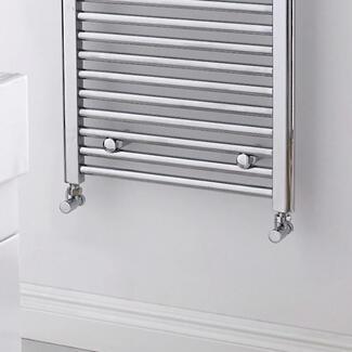 square designer radiator valve in a bathroom
