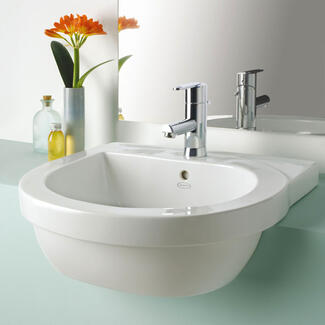 Bathroom semi recess sink cut in to a work top