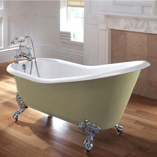 Freestanding Slipper Bath With High Back And Designer Chrome Feet