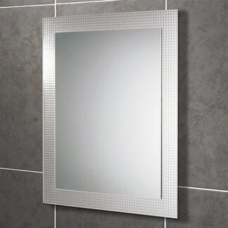 Wall hung mirror with out storage and lights on a bathroom wall