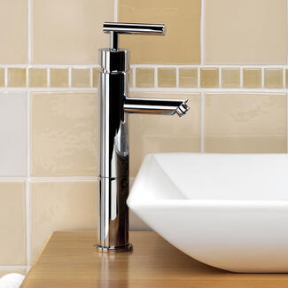 Tall bathroom Height tap sitting on a worktop with a sit on basin
