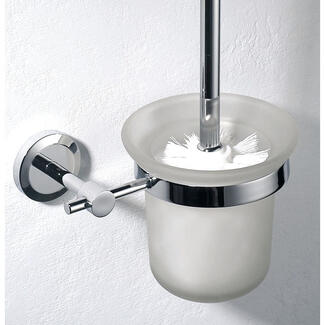 Toilet cleaning brush with wall mounted glass holder with chrome support