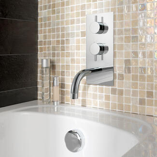 Wall mounted chrome concealed tap and bath shower mixers with spout