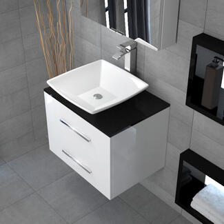 White wall hung bathroom basin unit