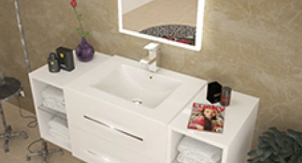 Designer White Bathroom Basin And Storage Unit Wall Hung