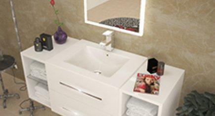 White High-Gloss Vanity Unit