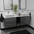 double vanity unit with storage and countertop basins