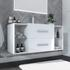 2 drawer white bathroom storage and basins