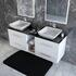 Glass top double bathroom cabinets and basin