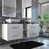 Glass work top cabinet and ceramics basins