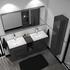 grey bathroom double suite with storage