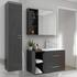 Grey wall hung cabinet and basin