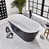 Room scene with angled top view of Verone Black Freestanding Bath
