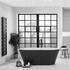 Room Scene side view of the verone black freestanding 1700 x 800 bath