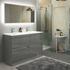Pemberton grey floor standing handless 4 drawers double basin unit - 179056