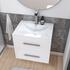 Bathroom furniture wall hung 600mm vanity unit with chrome tap and chrome handles