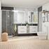 Shower Suite in grey with double vanity unit and toilet