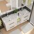 Sonix Double Vanity unit with storage and 4 draws in grey with chrome handles