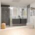His and hers bathroom vanity furniture with storage in grey