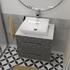 countertop basin with grey vanity unit