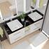 His and hers bathroom vanity furniture with storage in white