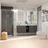Grey Bathroom Shower Suite with Double Wall hung countertop unit