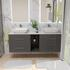 counter top basin with grey wall hung unit with glass storage and 2 draws
