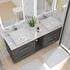 counter top double basin with storage and chrome handles