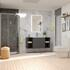 Bathroom Shower Suite in Grey with wall hung unit