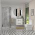 Bathroom white wall hung vanity unit with 2 draws