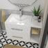 wall hung white vanity unit with storage