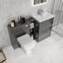 Grey Vanity Bathroom Unit with Glass Shelf Storage